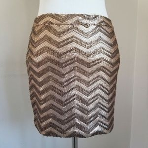 Chevron Pattern Bronze Sequin Mini Skirt